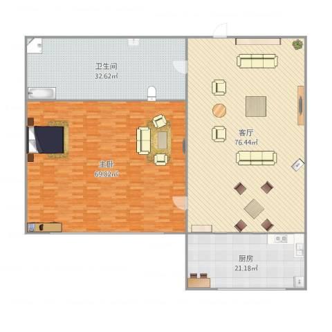 秀月居1室1厅1卫1厨259.00㎡户型图