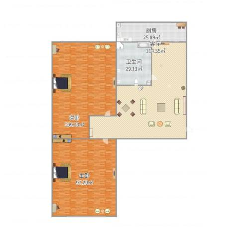 景山小区2室1厅1卫1厨387.30㎡户型图