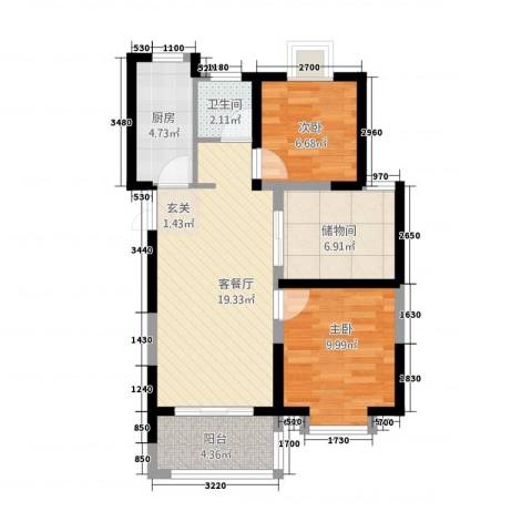 和昌运河尚郡2室1厅1卫1厨79.00㎡户型图