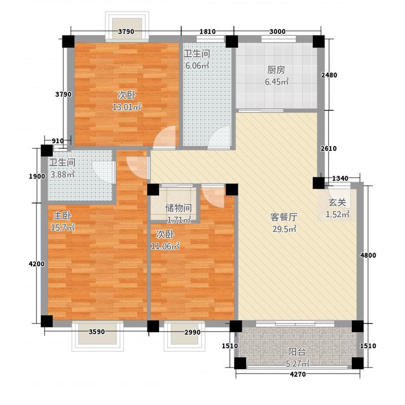 天翔CBD财富街3-2-5户型3室2厅2卫1厨