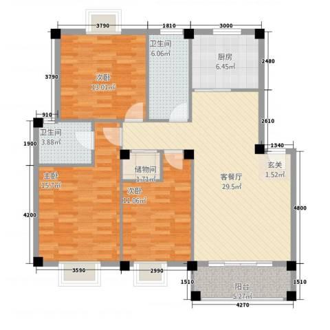 天翔CBD财富街3室1厅2卫1厨129.00㎡户型图