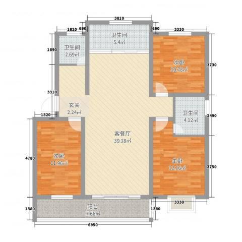 万泰颐轩3室1厅3卫0厨135.00㎡户型图