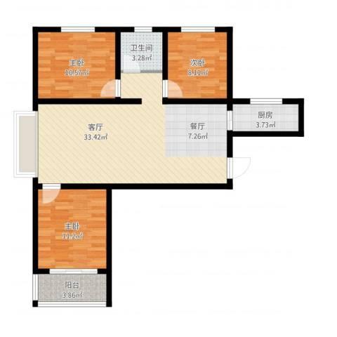 紫睿天和3室1厅1卫1厨107.00㎡户型图