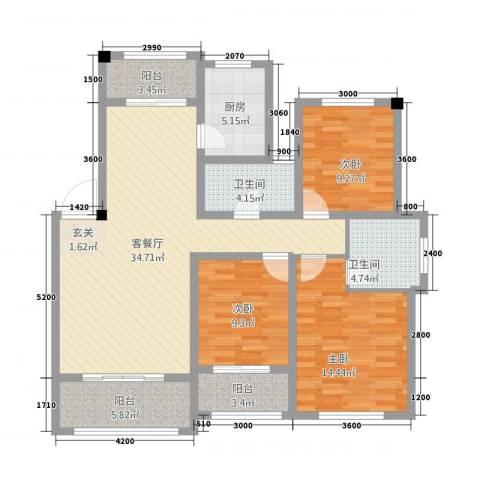 翠湖天地三期3室1厅2卫1厨111.00㎡户型图
