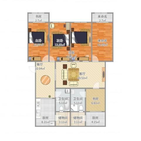 万兴凤凰花园5室2厅2卫2厨166.00㎡户型图