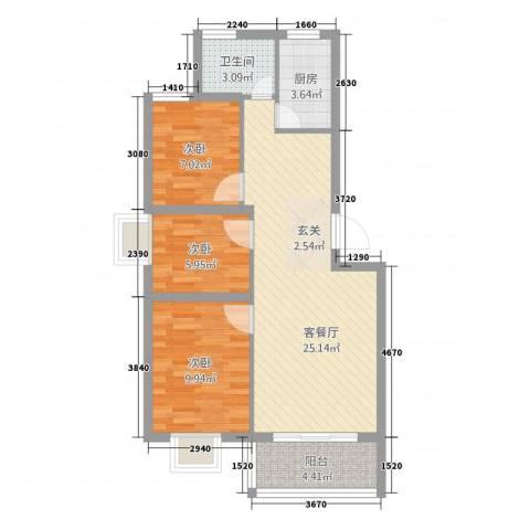 万泰颐轩3室1厅1卫1厨85.00㎡户型图