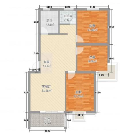万泰颐轩3室1厅1卫1厨74.82㎡户型图