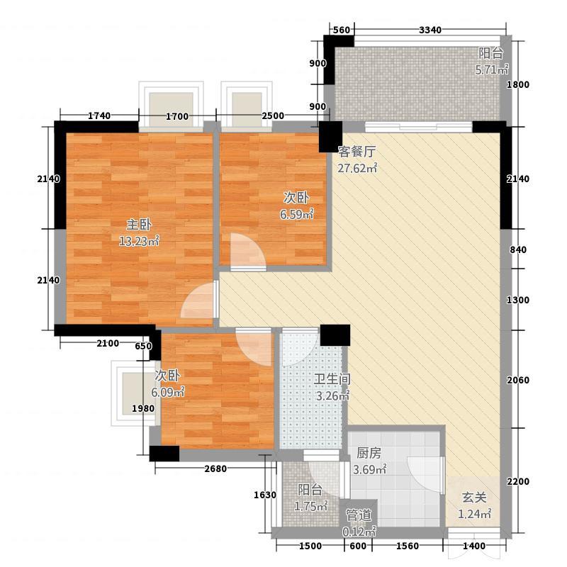 西岸花园一期86.23㎡2栋B1户型3室2厅1卫