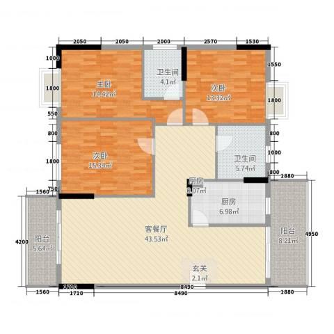 智富华轩3室1厅2卫2厨127.00㎡户型图