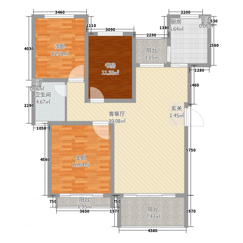 世纪风情145.00㎡户型3室
