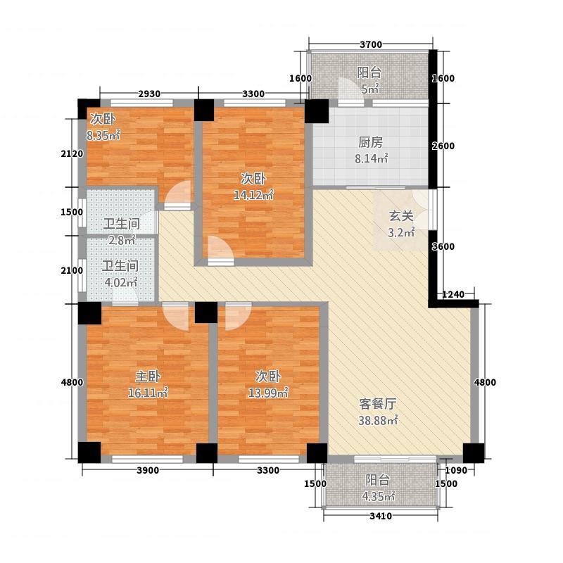颐和都会广场135.00㎡户型3室2厅2卫1厨