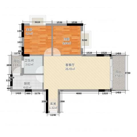 智富华轩2室1厅1卫1厨83.00㎡户型图