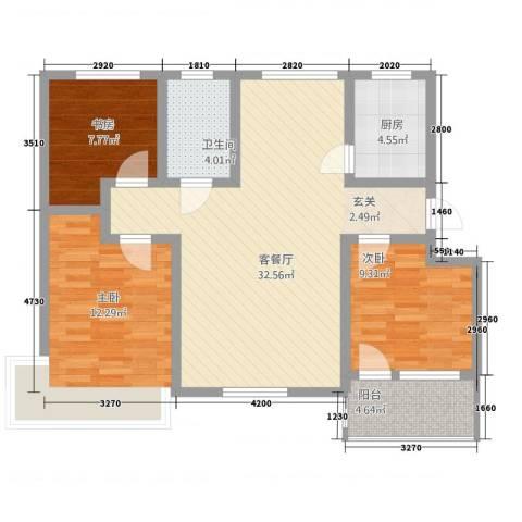 茗瑞华府3室1厅1卫1厨109.00㎡户型图