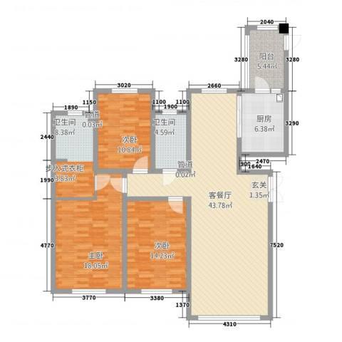 哈公馆3室1厅2卫1厨160.00㎡户型图