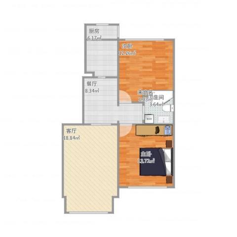 天泰定福苑2室2厅1卫1厨85.00㎡户型图