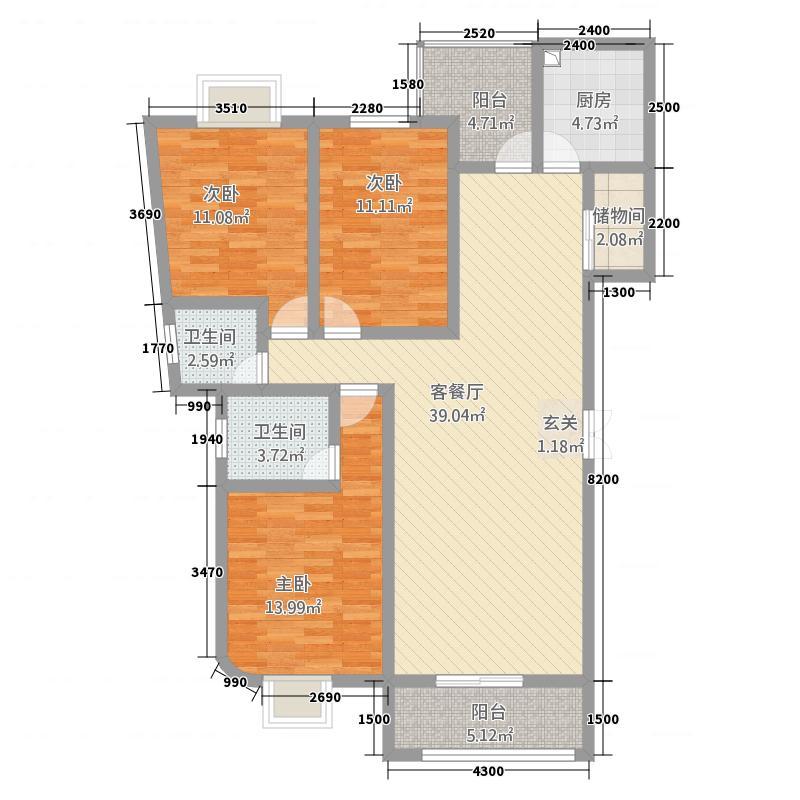 恒辉大景城9#B户型3室2厅2卫1厨
