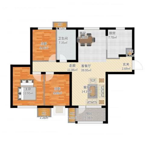 「大连天地」悦龙居3室1厅1卫1厨138.00㎡户型图