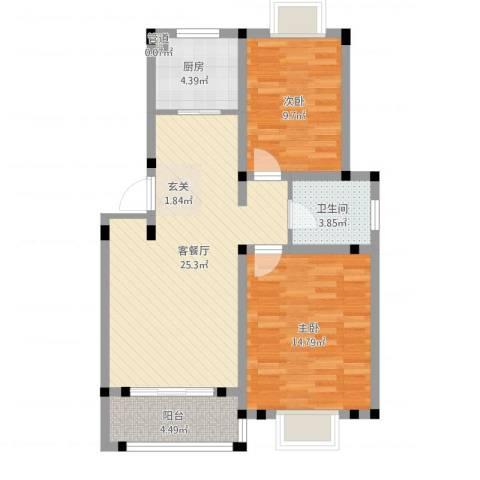 双清花园2室1厅1卫1厨90.00㎡户型图