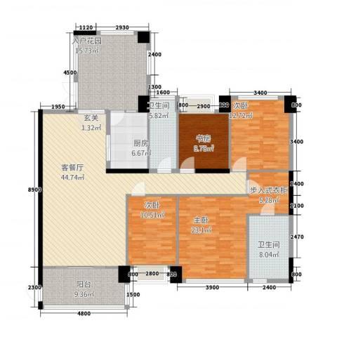 世纪海岸花园4室1厅2卫1厨145.46㎡户型图