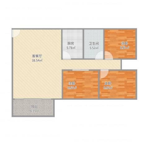 山水华庭3室1厅1卫1厨113.00㎡户型图