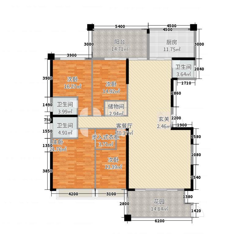 华美春天234.31㎡单张(6栋04)户型4室2厅3卫1厨