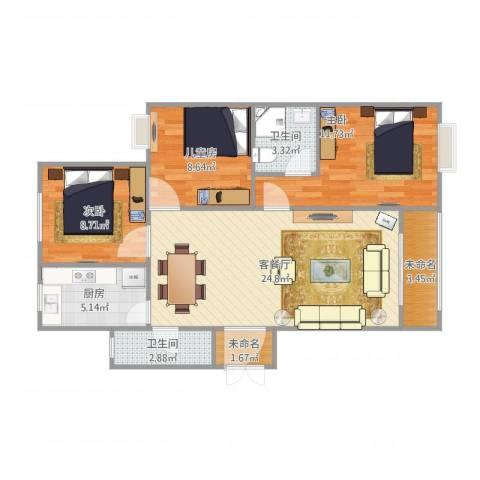 郁金蓝湾3室1厅2卫1厨96.00㎡户型图