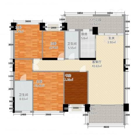 世纪海岸花园4室1厅2卫1厨186.00㎡户型图