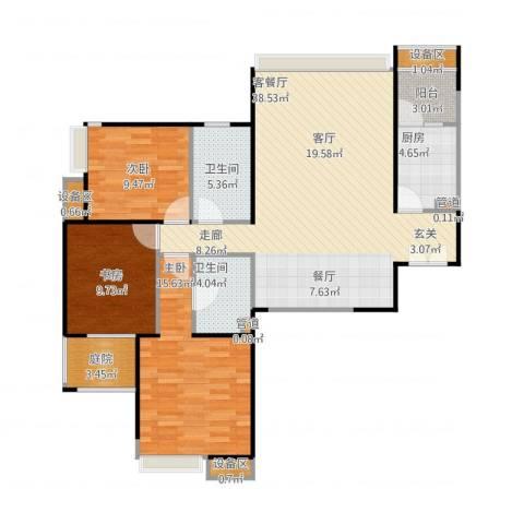 新兴骏景园二期天樾3室1厅2卫1厨131.00㎡户型图