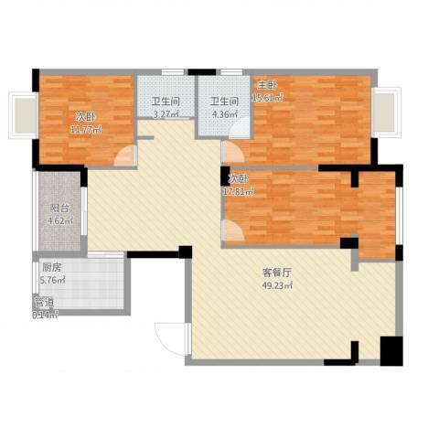 西子山庄3室1厅2卫1厨158.00㎡户型图