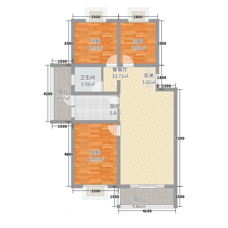 相如公园1号1.76㎡E'户型3室2厅1卫1厨