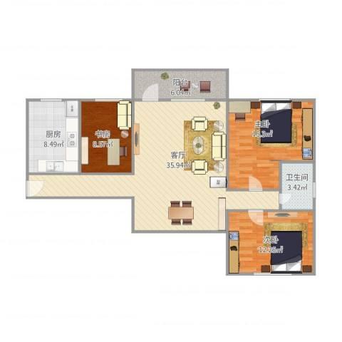 陶苑小区3室1厅1卫1厨121.00㎡户型图