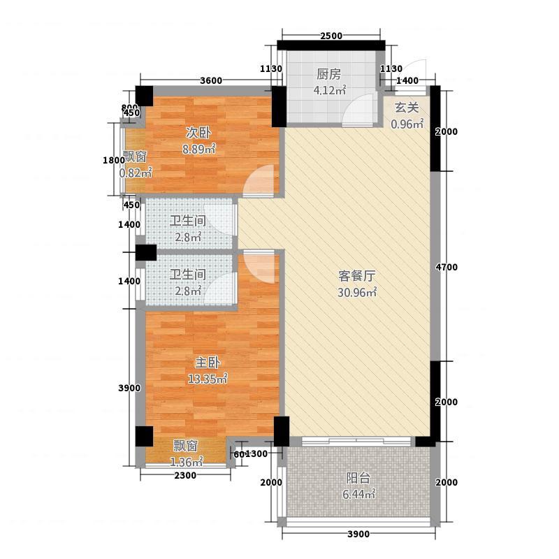 京源・华盛83.30㎡1栋2单元04单元1户型2室2厅2卫1厨