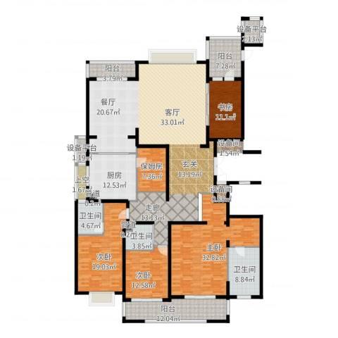 雅戈尔东海府4室1厅3卫1厨253.22㎡户型图