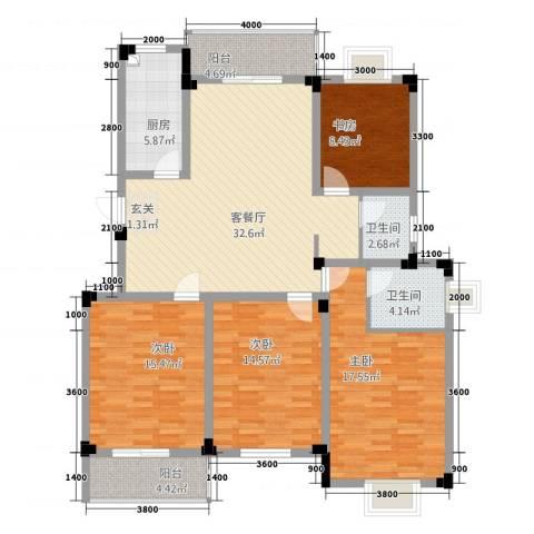 高尔夫家园4室1厅2卫1厨148.00㎡户型图
