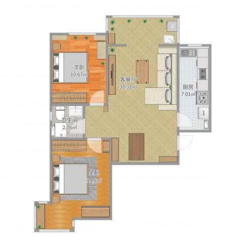 颐馨雅苑2室1厅1卫1厨88.00㎡户型图