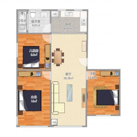 文昌桥小区3室2厅1卫1厨102.00㎡户型图