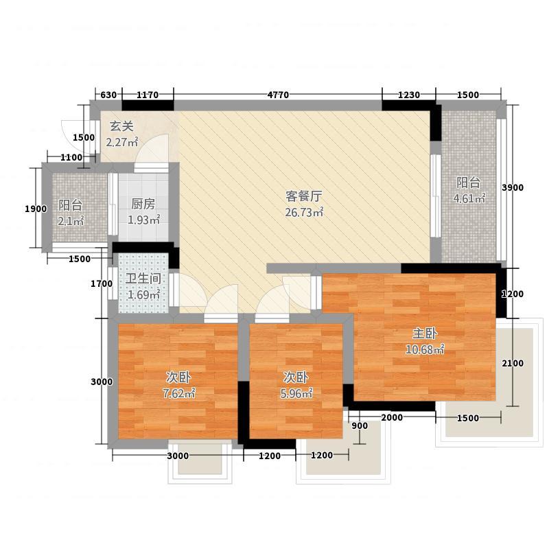 巨林・天下城138.22㎡13号楼5号房单卫户型3室2厅1卫1厨
