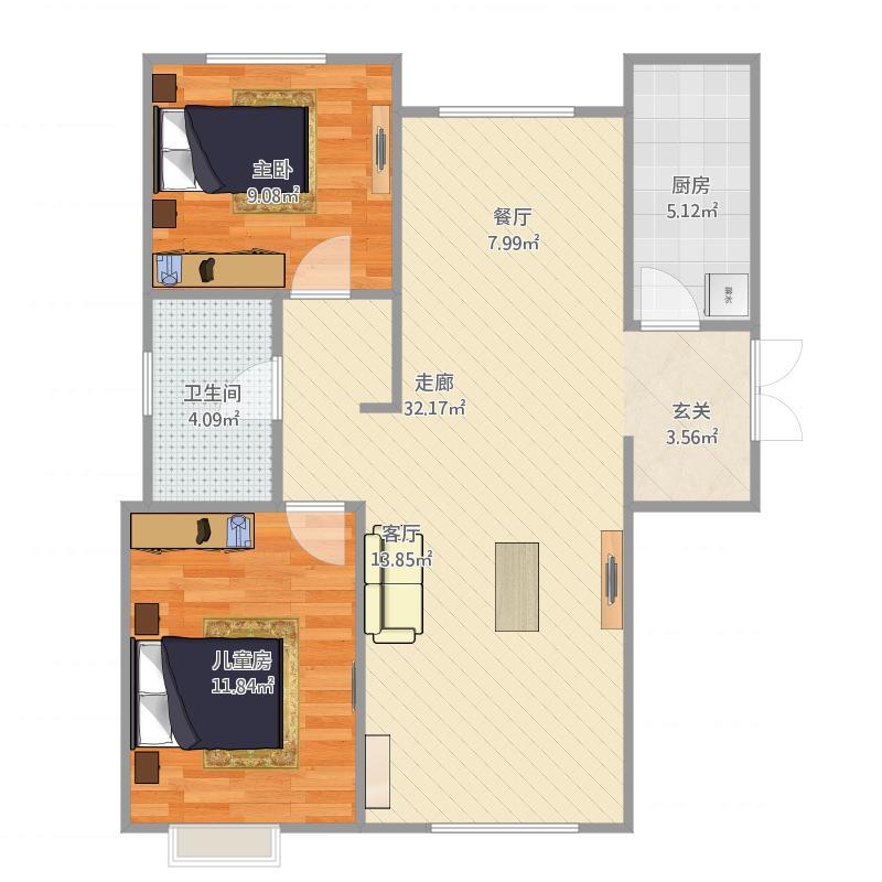 97.2 B5户型 两室两厅