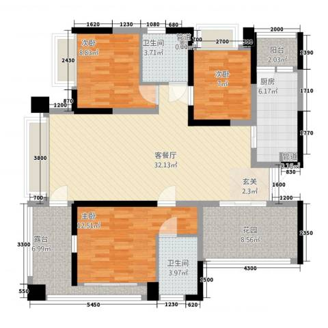 华侨新村(南山)3室1厅2卫1厨134.00㎡户型图
