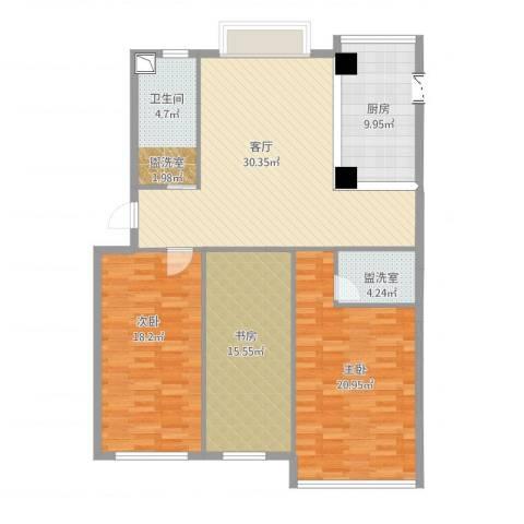 海源丽都3室2厅1卫1厨144.00㎡户型图
