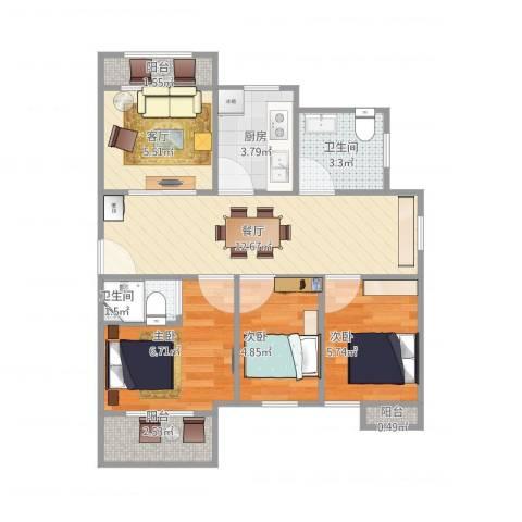 蓝天苑1583室2厅2卫1厨68.00㎡户型图