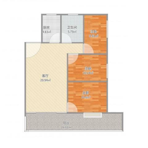 天一新村3室1厅1卫1厨117.00㎡户型图