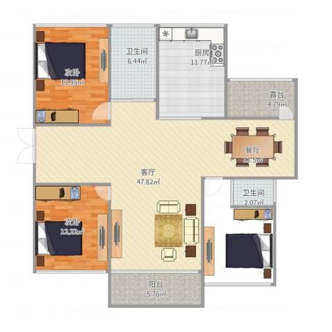 海景城2室1厅2卫1厨140.00㎡户型图