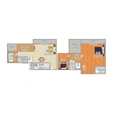 华林东盛花园3室1厅3卫1厨1192.00㎡户型图