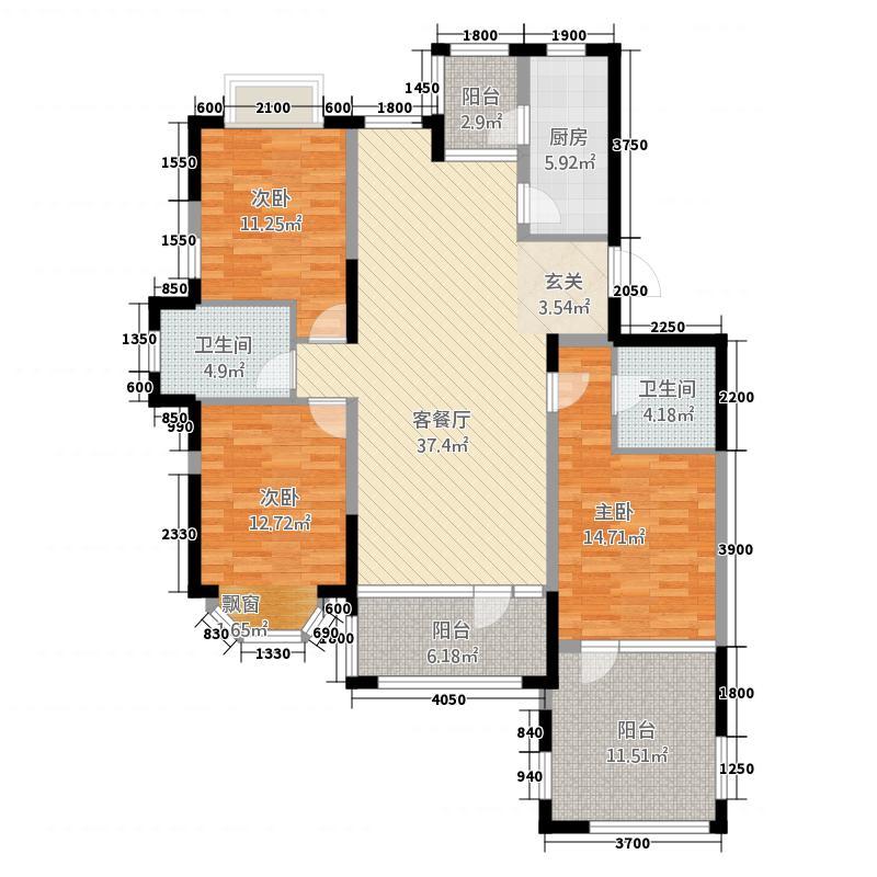 长青温泉岛128.64㎡水悦香溪B户型3室2厅2卫1厨