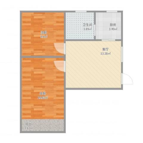黄山小区2室1厅1卫1厨62.00㎡户型图
