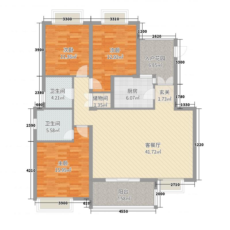 中华坊128.00㎡B户型3室2厅2卫1厨