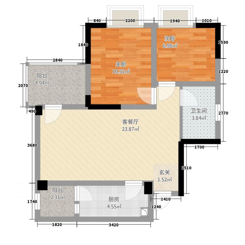 锦通满庭芳三期83.37㎡D3-3户型2室2厅1卫1厨