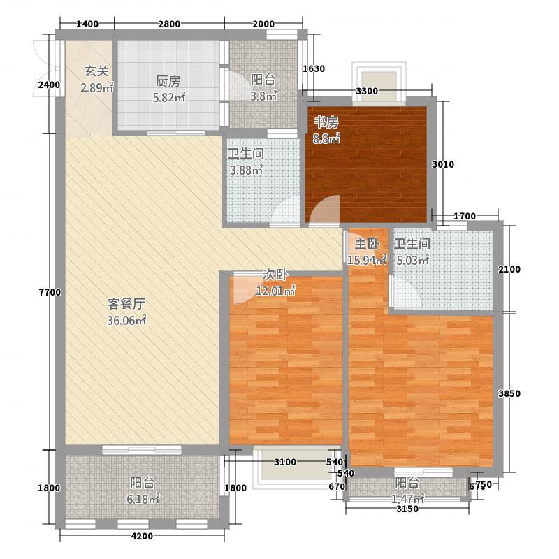龙川半岛122.16㎡E-07单元三室双卫户型3室2厅2卫1厨