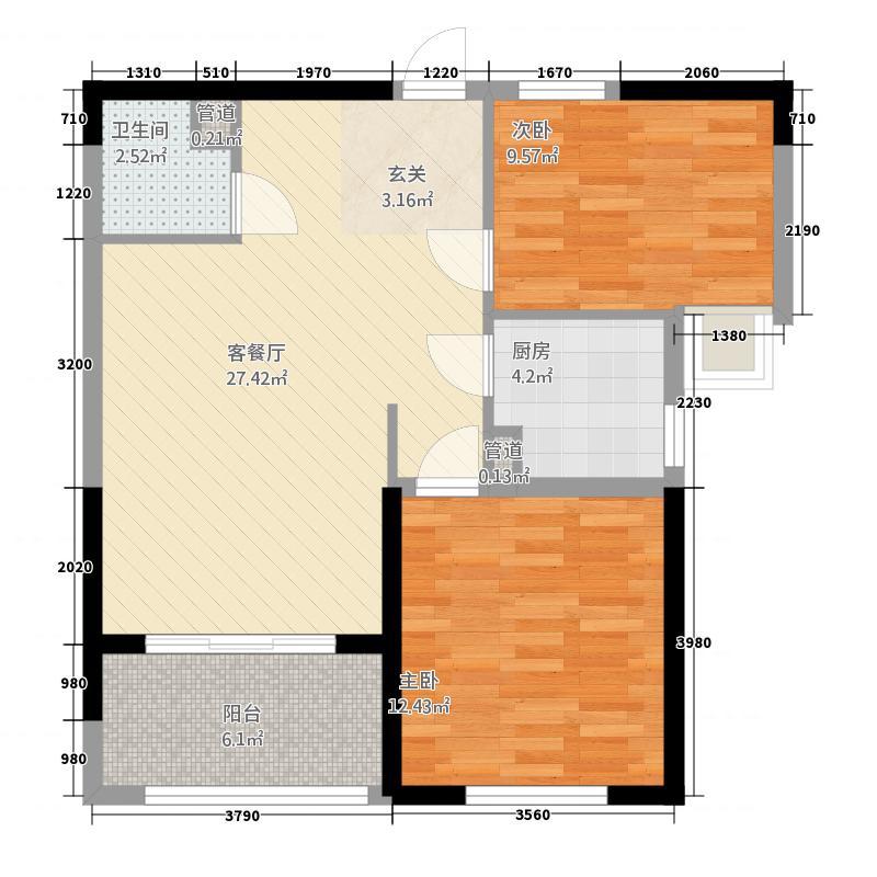 阳光国际88.80㎡20#户型2室2厅1卫1厨